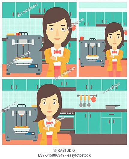 Woman working with three D printer making pizza on the background of kitchen. Woman with crossed arms standing near 3D printer