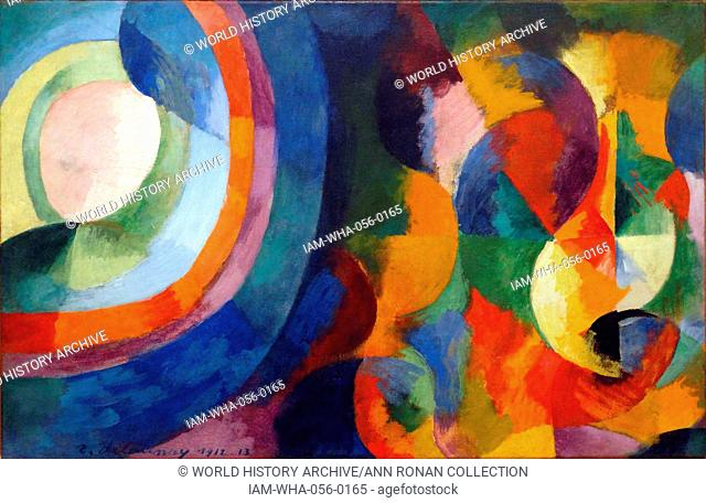 Circular forms, Sun, Moon by Robert Delaunay (1885-1941) was a French artist who, with his wife Sonia Delaunay and others, cofounded the Orphism art movement