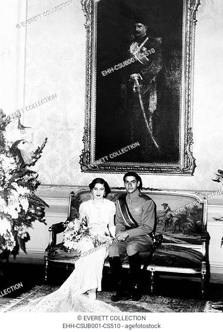 Crown Prince Mohammed Reza of Iran and his Egyptian bride, Princess Fawzia. She is the sister of King Farouk of Egypt and the first of the future Shah of Iran's...