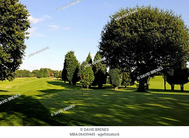 View down over 11th Green and fairway, Cherry Lodge Golf Club, Biggin Hill, Kent, England