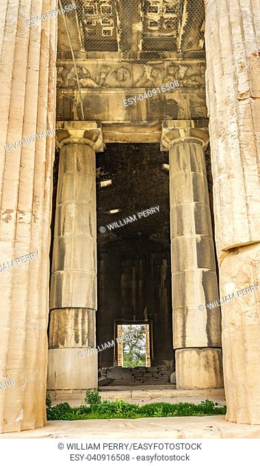 Entrance Ancient Temple of Hephaestus Agora Market Place Athens Greece. Agora founded 6th Century BC. Temple for God of craftsmanship, metal working from 449 BC