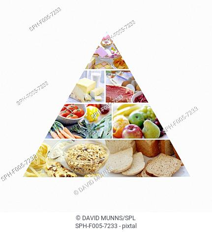 Food pyramid showing the recommended proportions of food types for a healthy, balanced diet. The largest part of the diet should be carbohydrates from bread