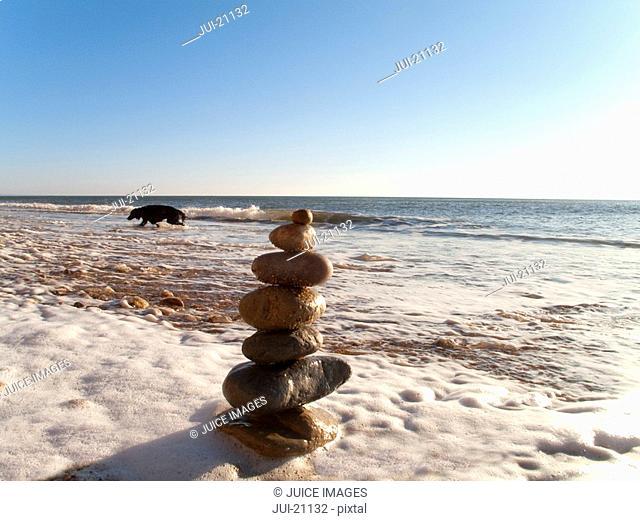 Rock cairn on beach