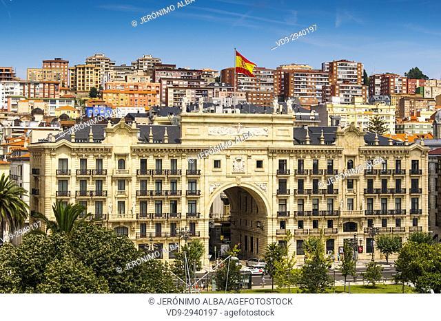 Cityscape. Santander bank headquarters. Santander, Cantabrian Sea, Cantabria, Spain, Europe