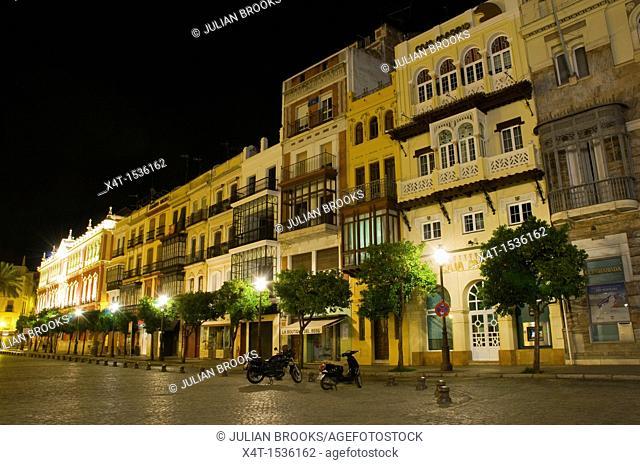Seville, Spain, Night street scene in Plaza de San Francisco
