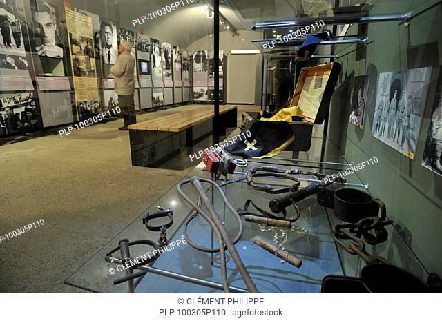 Instruments of torture at the Fort Breendonk museum, Belgium