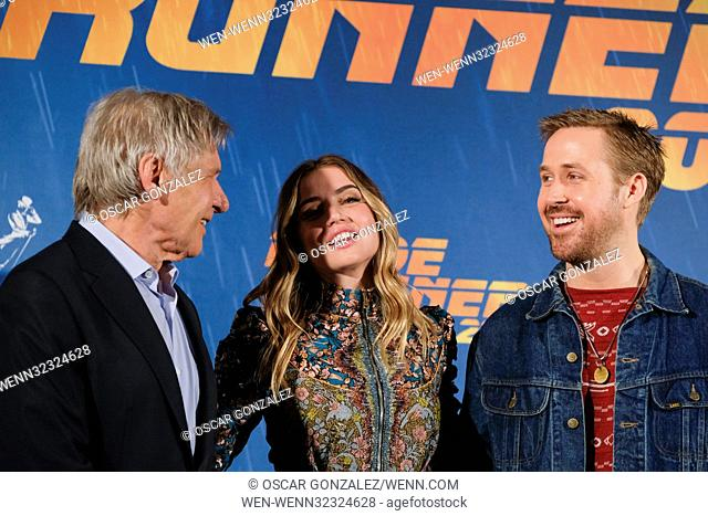 Madrid photocall for 'Blade Runner 2049' Featuring: Harrison Ford, Ana de Armas, Ryan Gosling Where: Madrid, Spain When: 19 Sep 2017 Credit: Oscar Gonzalez/WENN