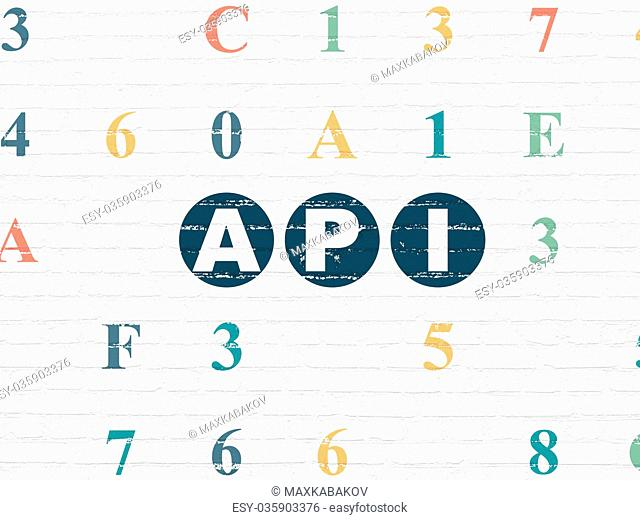 Programming concept: Api on wall background