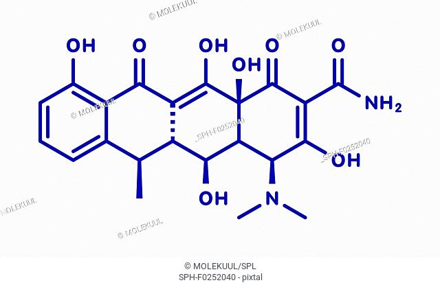 Doxycycline antibiotic drug (tetracycline class) molecule. Blue skeletal formula on white background