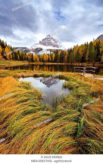 reflection, Lago Antorno, Tre Cime di Lavaredo, alps, Dolomites, Italy