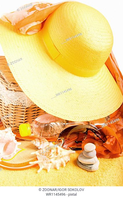 Beach items isolated on white background conceptual image of summertime vacation