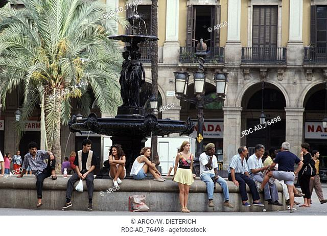 People at fountain Placa Reial Barcelona Catalonia Spain