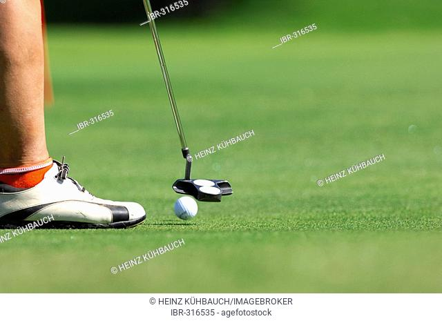 Golfer puting the ball, golf course, Caorle, Veneto, Italy