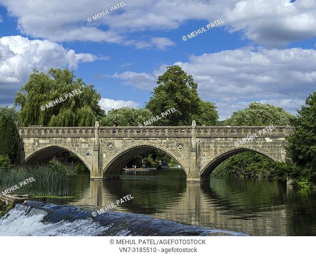 Batheaston toll bridge crossing the river Avon at Bathampton, Bath, Somerset, England, UK