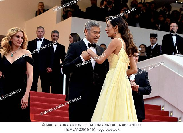 Julia Roberts, George Clooney and wife Amal Alamuddin during the red carpet of the film Money Monster. 69th Cannes Film Festival. Cannes