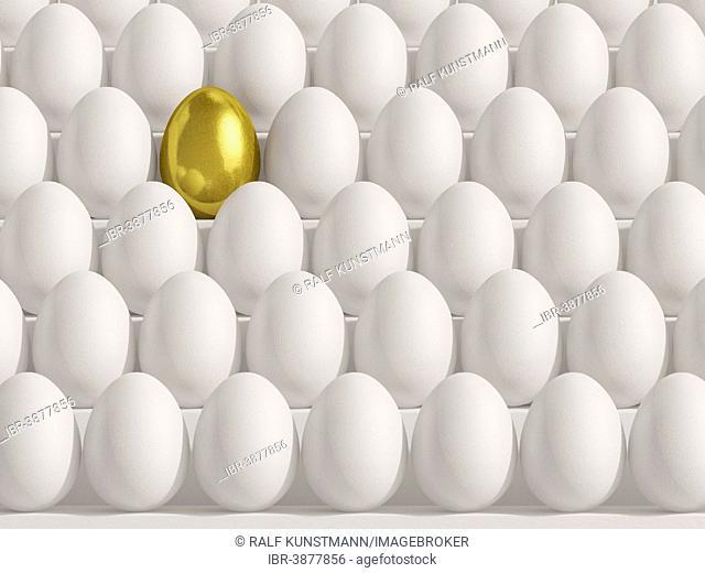 Golden egg amidst white eggs