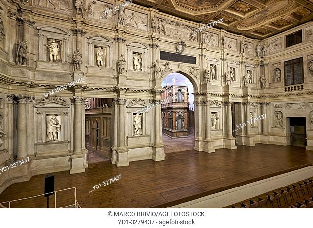 """Vicenza, Veneto, Italy. TheTeatro Olimpico(""""Olympic Theatre"""") is a theatre inVicenza, northernItaly, constructed in 1580-1585"""