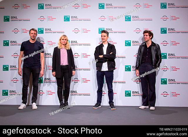"""Justin Taurand, Katell Quillevere, Helier Cisterne, Vincent Lacoste attend the photocall of the movie """"""""De Nos Freres Blesses"""""""" during the 15th Rome Film..."""