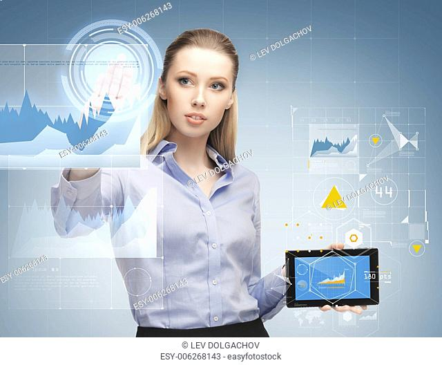 business, future technology, development and people concept - young businesswoman working with tablet pc and graph projections