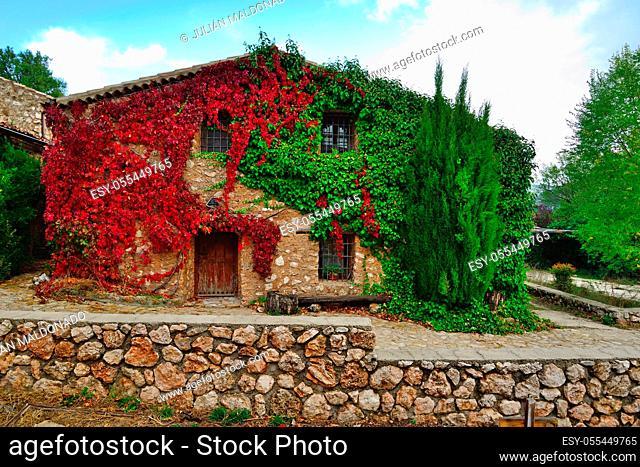 Riopar Viejo, Spain - October 21, 2018: Rural houses in the town of Riopar Viejo