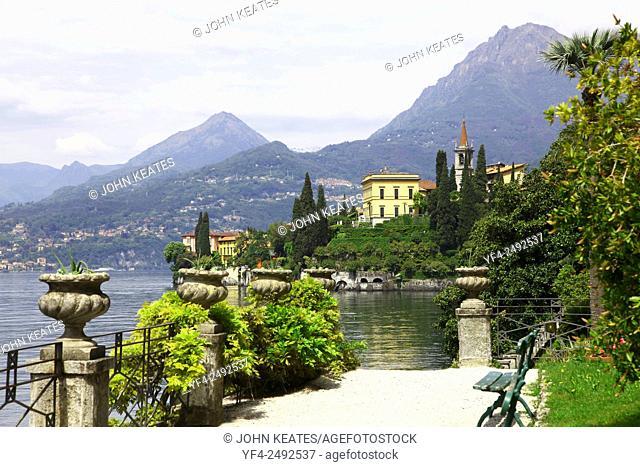 Looking towards the gardens of Villa Cipressi from the gardens of Villa Monastero Varenna Lake Como Italy