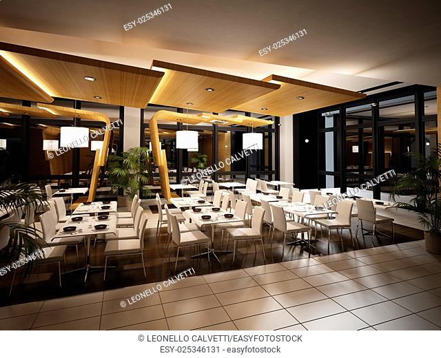 Modern restaurant interior view. Night time scene with warm artificial lighting, mirrors and plants all around. No people