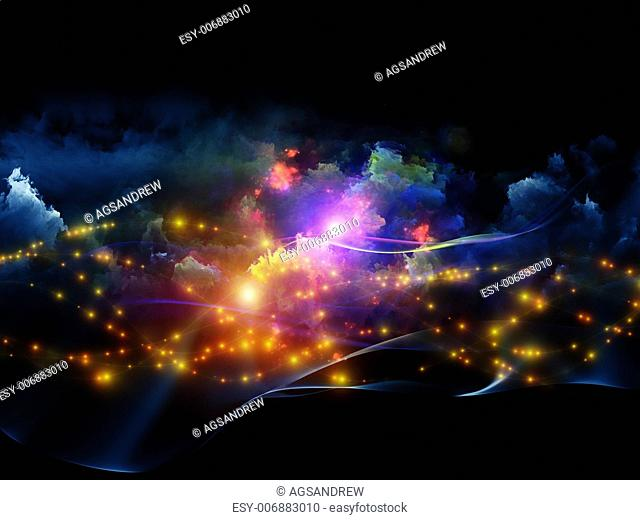 Composition of clouds of fractal foam and abstract lights on the subject of art, spirituality, painting, music , visual effects and creative technologies
