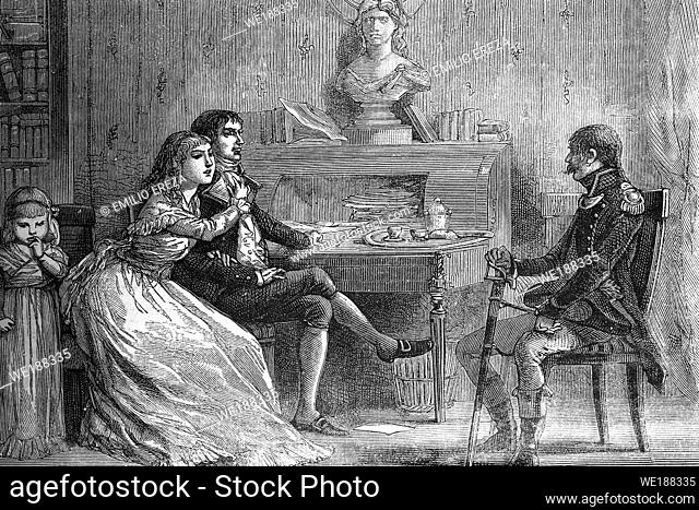 Camille Desmoulins (born 1760, died 1794), jacobin, journalist and politician with his spouse Lucile. French revolution. Talking with a military