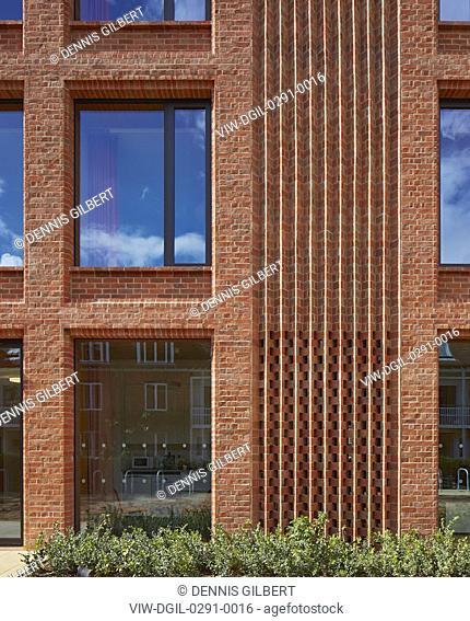 Detail view of brick facade. Newnham College, Cambridge, Cambridge, United Kingdom. Architect: Walters and Cohen Ltd, 2018