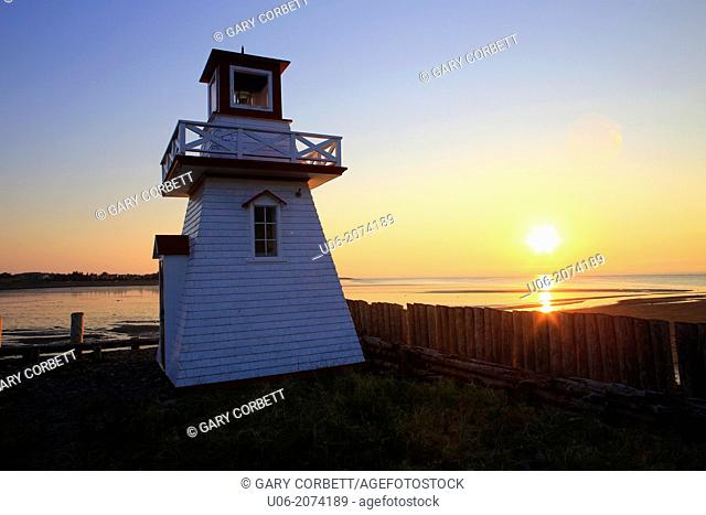 The lighthouse at Meteghan wharf in Nova Scotia, Canada