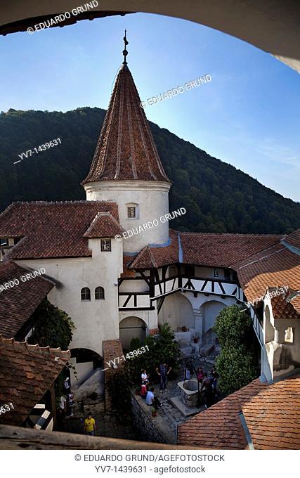 Indoor enclosure of the Bran Castle  Bran, Brasov, Transylvania, Romania, Europe