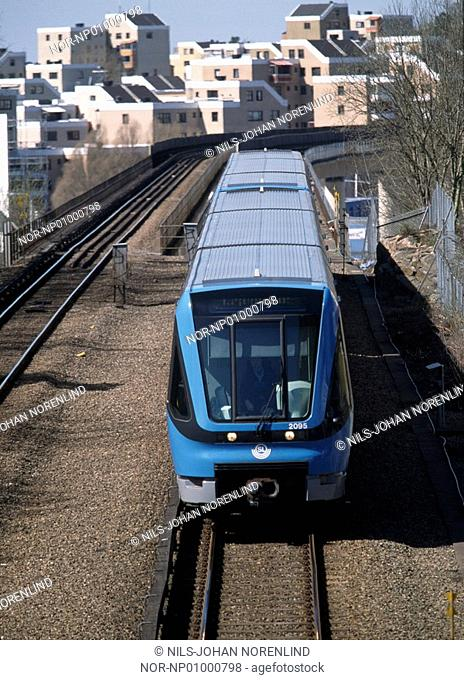 High angle view of a train running on the track