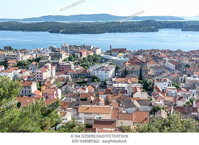 View of Sibenik town from Barone fortress with blue sky in Sibenik,Croatia