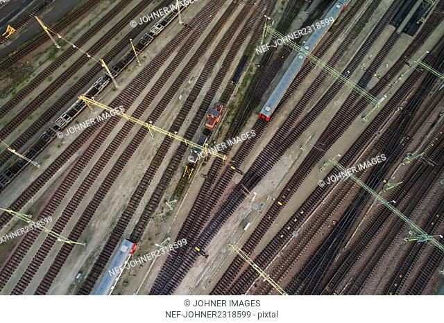 Elevated view of train station
