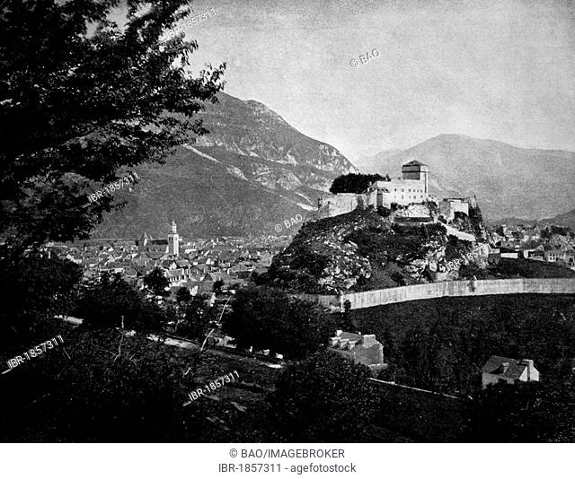 Early autotype of the Chateau in Lourdes, Hautes-Pyrénées, France, historical photo, 1884