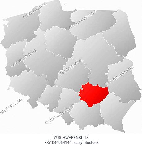 Map of Poland with the provinces, filled with a linear gradient, Swietokrzyskie is highlighted