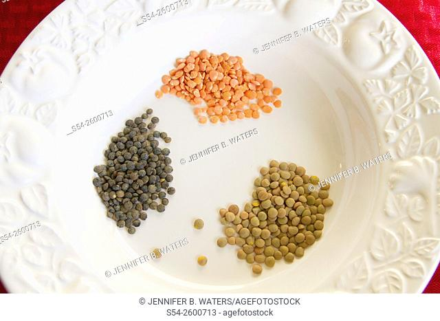 Different lentil varieties in a white bowl
