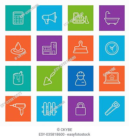 Set of Vector Construction Building Icons. Home and Repair. Can be used as Logo or Icon. Premium quality