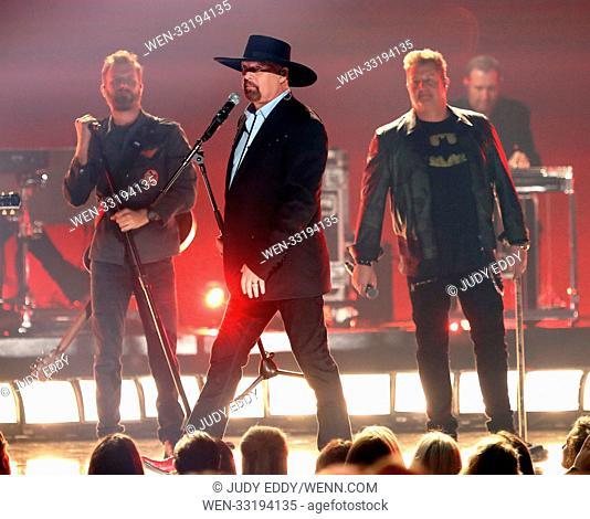 51st CMA Awards Show at Bridgestone Arena Featuring: Dierks Bentley, Rascal Flatts, Eddie Montgomery Where: Nashville, Tennessee