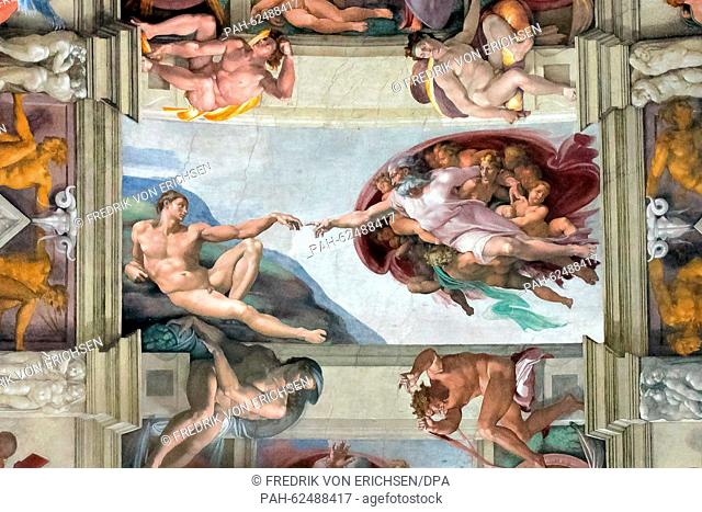 The ceiling frescos of the Sistine Chapel featuring works by Michelangelo Buonarroti, Pietro Perugino and Sandro Botticelli