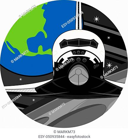 Cartoon Space Shuttle Flying over the Moon Vector Illustration