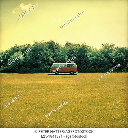 A camper van in a field