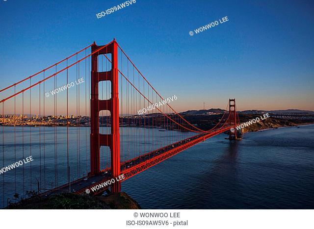 View of Golden Gate bridge at dusk, San Francisco, California, USA