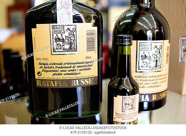 bottles of Ratafia in Ratafia Russet,warehouse of Ratafia,2 Santa Pau street,Olot,Girona province, Catalonia, Spain