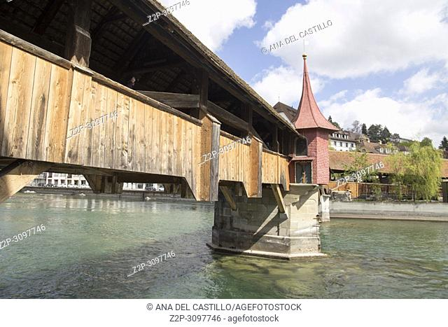 Old Tower and Bridge at Lucern Switzerland on April 18, 2017