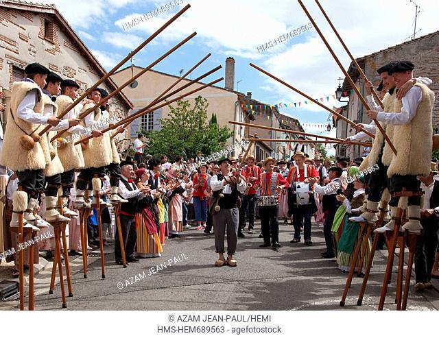 France, Tarn et Garonne, Auvillar, labelled Les Plus Beaux Villages de France the Most Beautiful Villages of France the Saint Noe feast where the inhabitants...