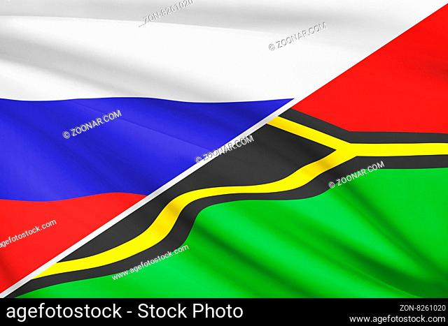 Flags of Russia and Republic of Vanuatu blowing in the wind. Part of a series