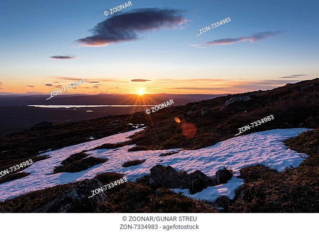 midnight sun, Dundret, Lapland, Sweden