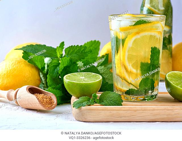 summer refreshing drink lemonade with lemons, mint leaves, lime in a glass, next to the ingredients for making a cocktail