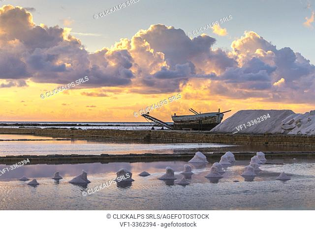 Trapani and Paceco saline natural reserve, Trapani province, Sicily, Italy